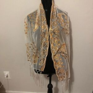 Beautiful Sheer Gold Sequined Peacock Scarf
